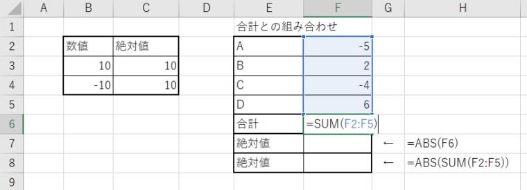 ABS関数SUM組み合わせ