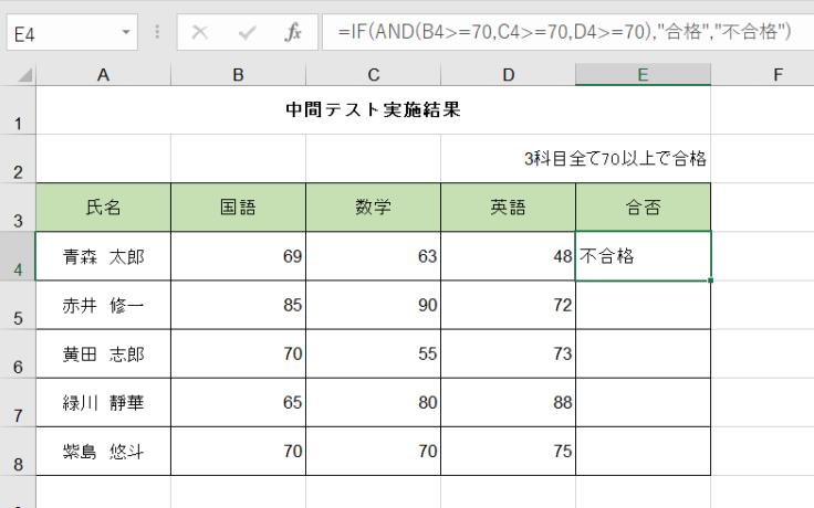 イフ関数とアンド関数の組み合わせた結果