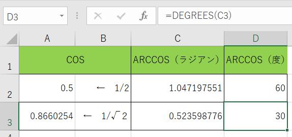 DEGREES関数で角度の表示をしました。