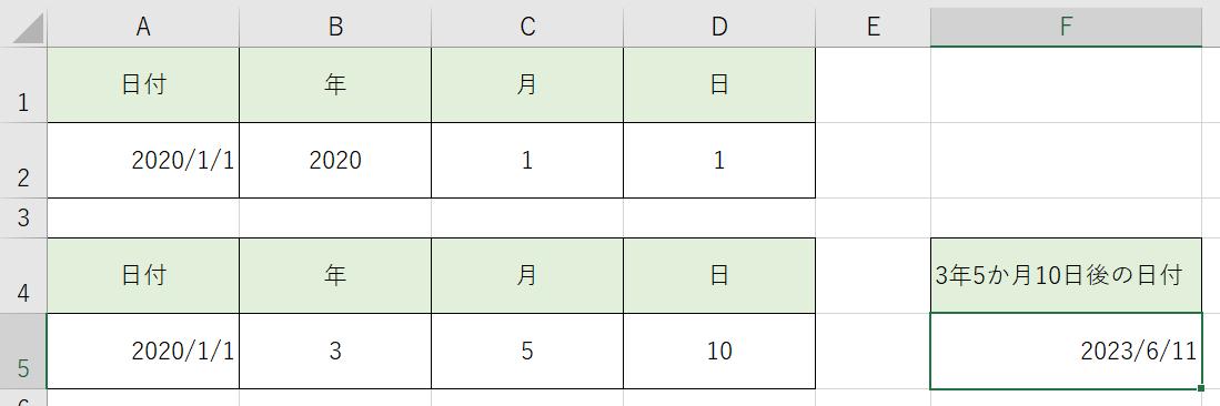 Excelの日付の関数