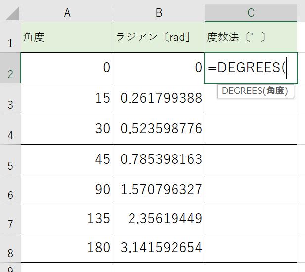 ディグリース関数をかきます