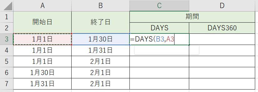 開始日と終了日を指定しました。