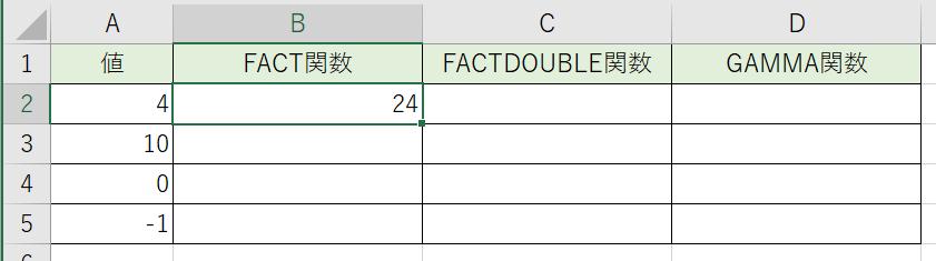 階乗の数値が計算されました