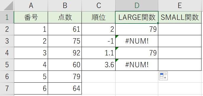 LARGE関数でいろいろな順位の数値を抜き出しました
