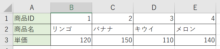 HLOOKUP関数で使用するリストの形