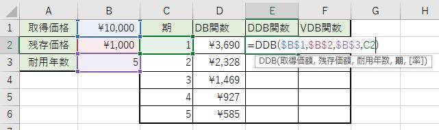 DDB関数を記入しました