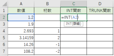 INT関数を書きました