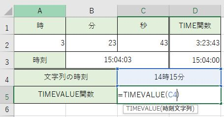 TIMEVALUE関数を書きました
