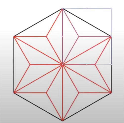 模様を書き込んだ三角形を60度ずつ回転複製します。(画像では色を赤に変更しています。)