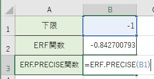 ERF.PRECISE関数をかきました