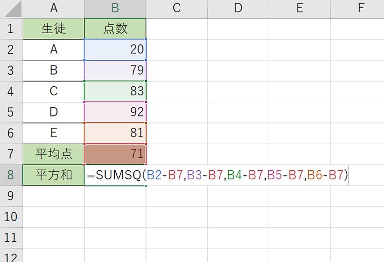 SUMSQ(サムスクエア)関数2