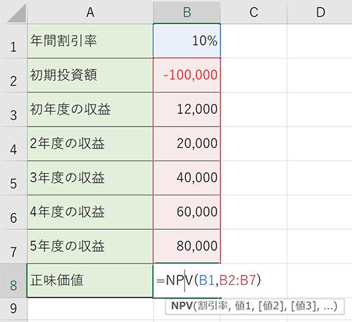 NPV関数を入力し、割引率のあとに5年目までのキャッシュフローを参照していきます。