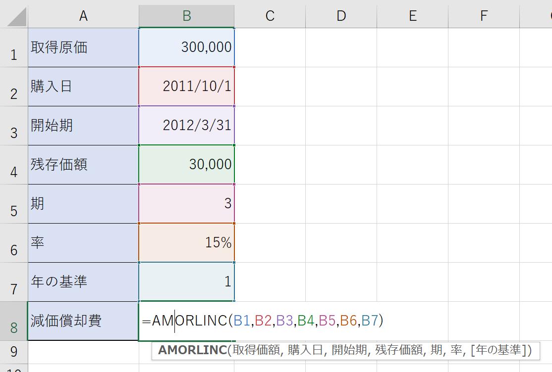 AMORLINC関数を入力し、それぞれのセルを参照していきます。