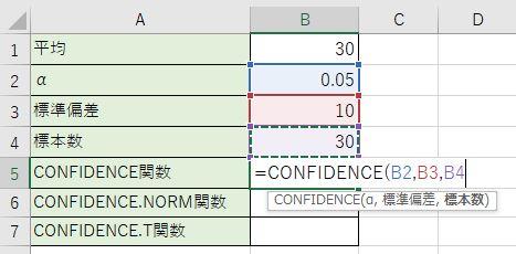CONFIDENCE関数を記入しました。
