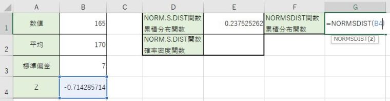 NORM.S.DIST関数を書きました