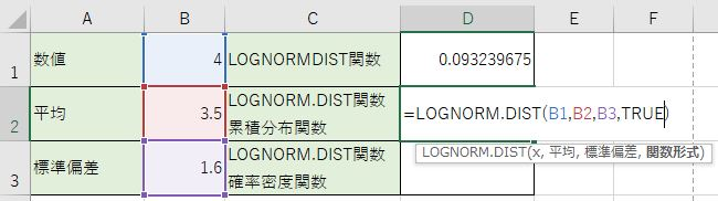 LOGNORM.DIST関数を作成しました