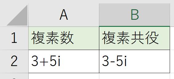 このように、虚数部が逆になったもの、複素共役が求められます。